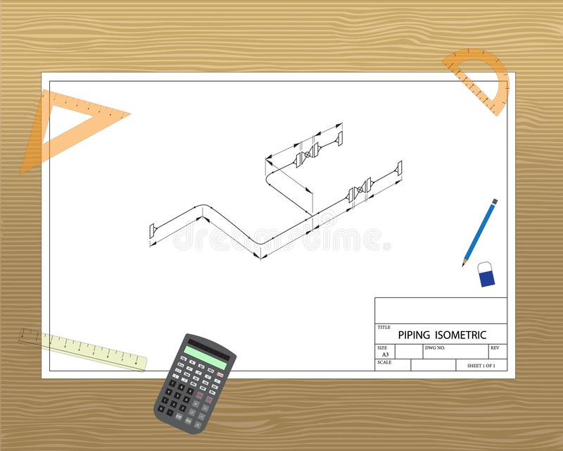 Piping isometric engineering drawing on desk. Piping isometric engineering drawing with stationary and calculator on table royalty free illustration