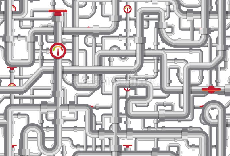 Piping vector pattern. Maze of tubes, cranes, tonometers, pipes. Boiler room texture design. Steel flat geometric line. Of pipelines background stock illustration