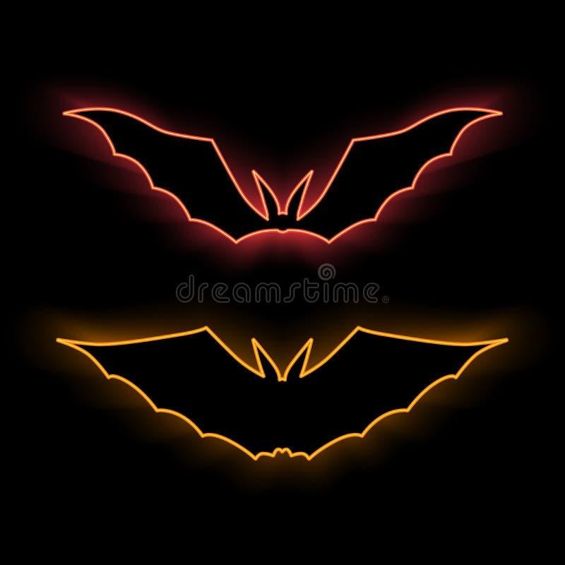Pipistrelli al neon Illustraton di vettore Segno di Halloween fotografia stock libera da diritti