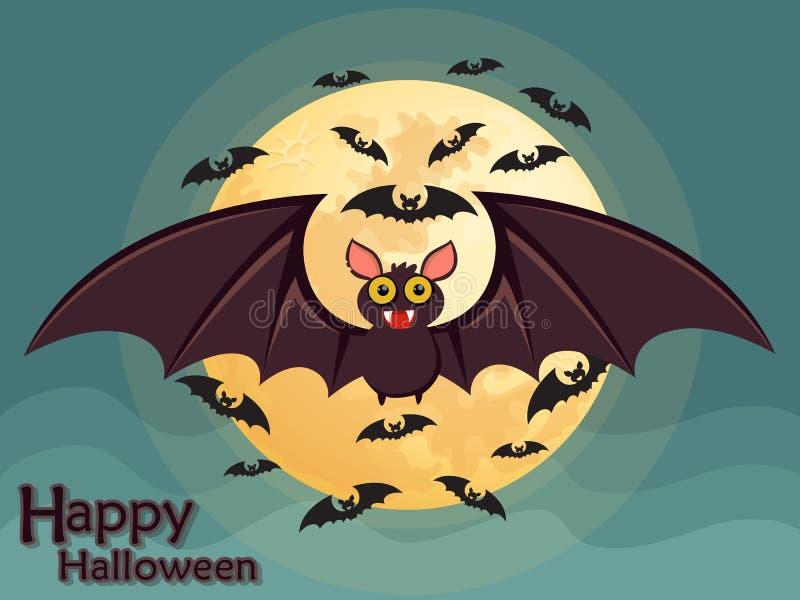 Pipistrello di volo di Halloween sul fondo della luna illustrazione di stock