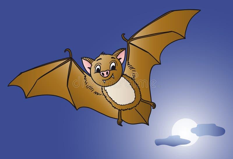 Pipistrello divertente che pilota in pieno notte di Halloween della luna immagini stock libere da diritti