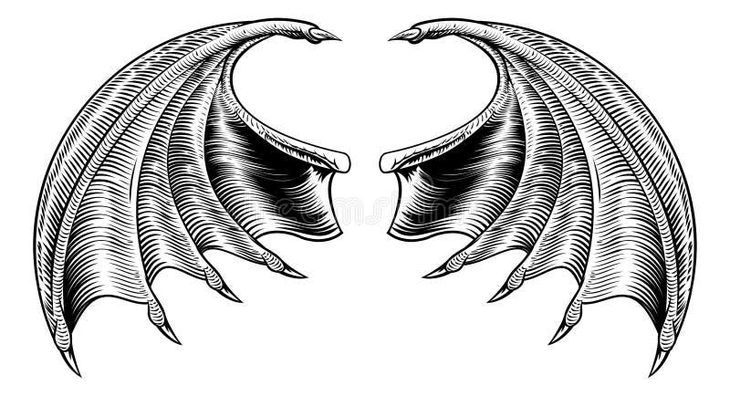 Pipistrello o Dragon Wings illustrazione di stock