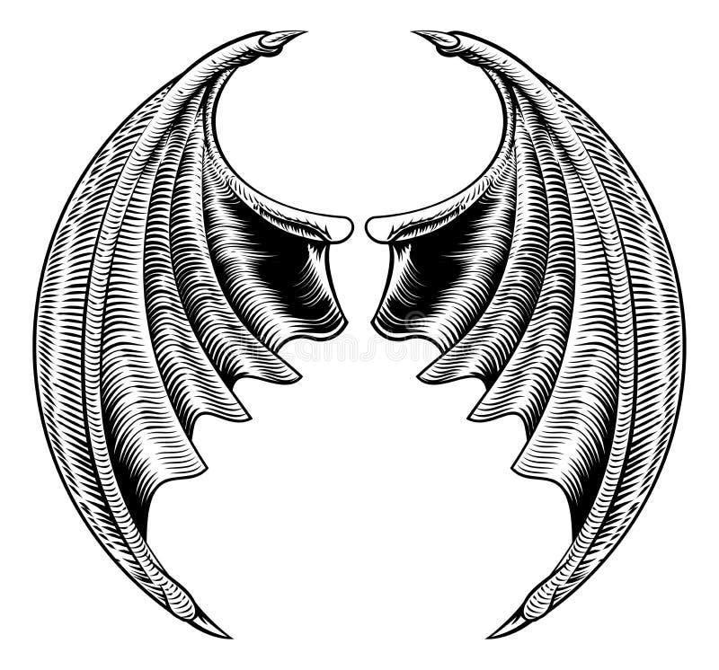 Pipistrello o Dragon Wings Design illustrazione vettoriale