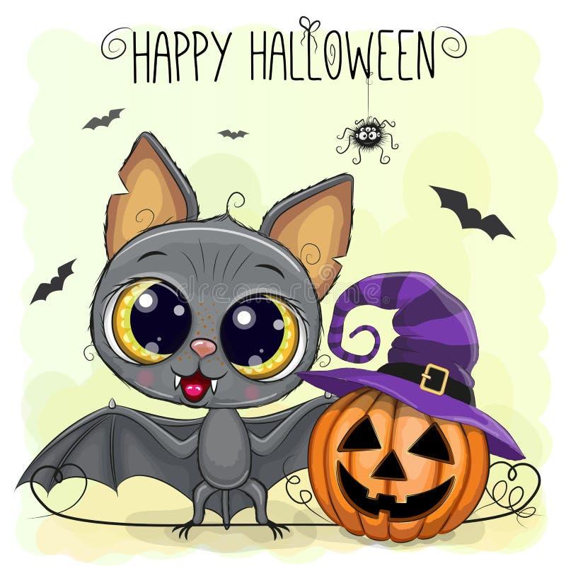 Pipistrello sveglio del fumetto con la zucca illustrazione vettoriale