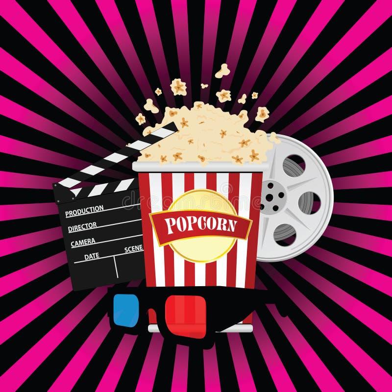 Pipoca com ilustração do sinal do filme ilustração do vetor