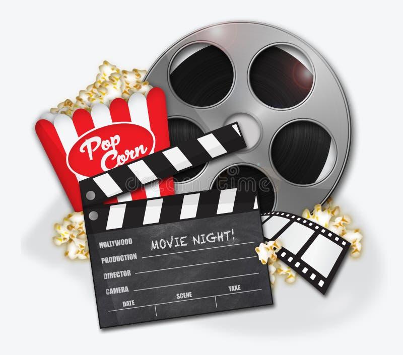 Pipoca de Hollywood do filme ilustração stock