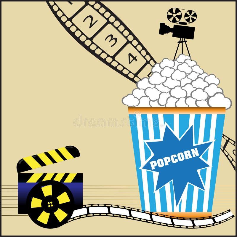 Pipoca e filmes ilustração do vetor