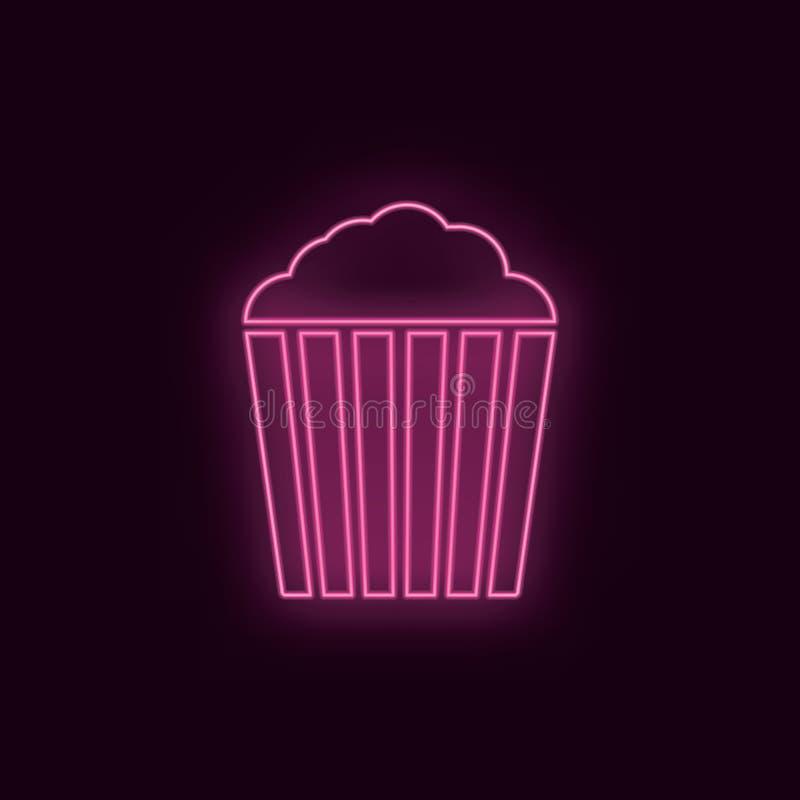 Pipoca, néon, ícone Ícone de néon do ux do ui da cor do rubi do teatro Vetor do logotipo do sinal do teatro - vetor ilustração do vetor