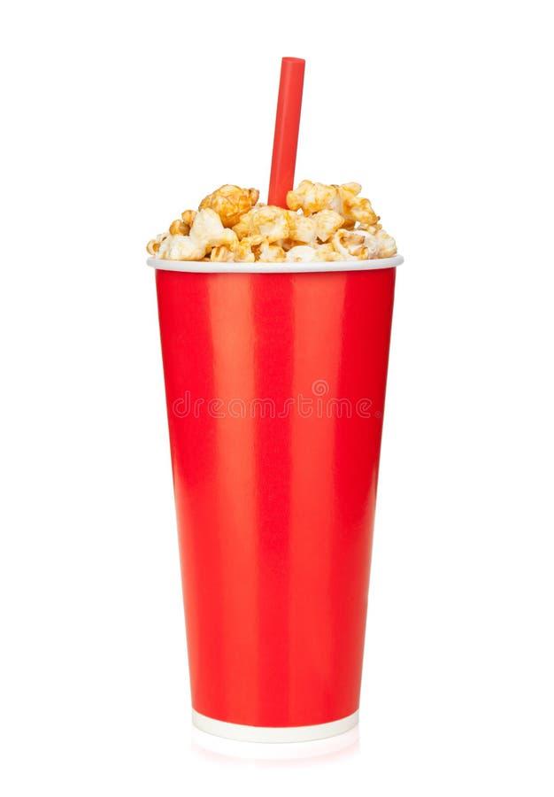 Pipoca no copo da bebida do fast food imagens de stock royalty free