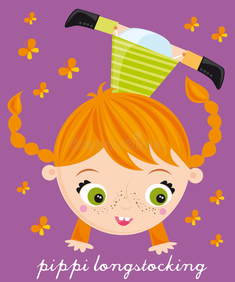 Pippi longstocking. Illustration of pippi longstockin girl