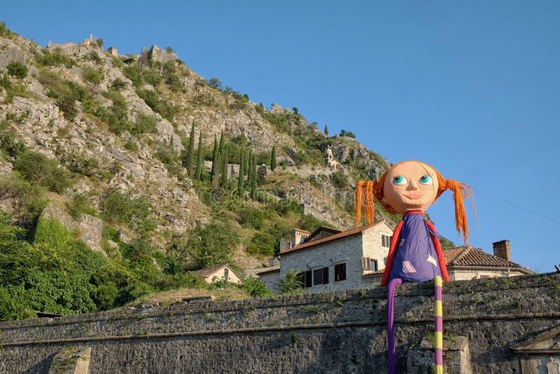 Pippi Longstocking In Kotor Old-Stad, Montenegro stock foto's