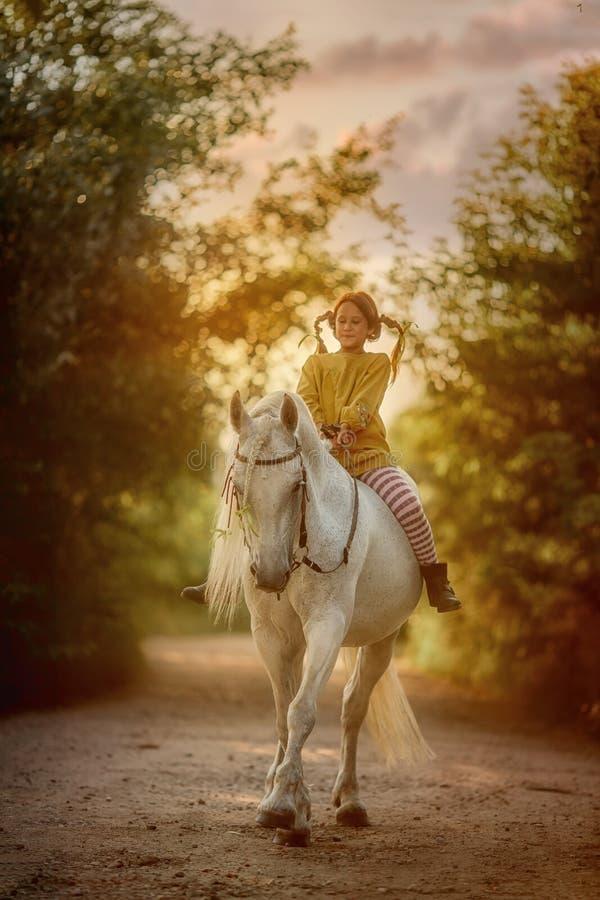 Pippi Longstocking met haar paard stock fotografie