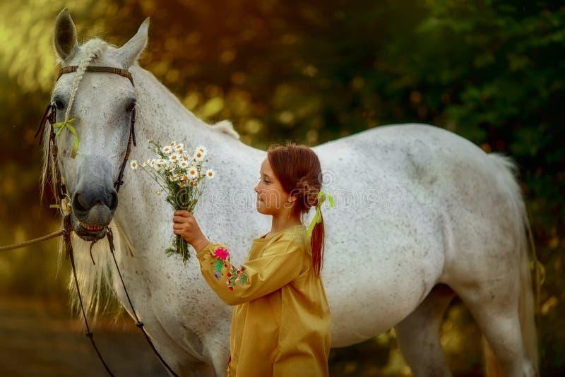 Pippi Longstocking met haar paard stock afbeelding
