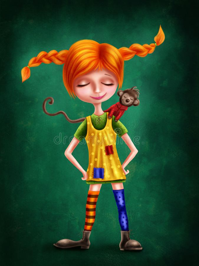 Cute little red haired girl with a monkey royalty free illustration