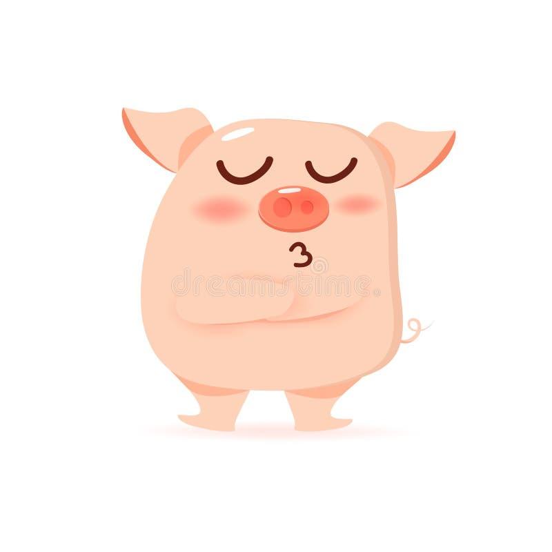 Piquè del maiale, fumetto arrabbiato del carattere, bambino e vettore della raccolta del bambino illustrazione vettoriale