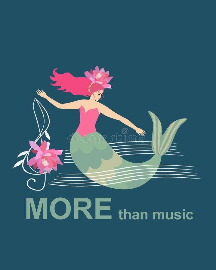 Piqué dans la musique Sirène flottant parmi les vagues représentées sous forme de règles musicales et de clef triple illustration libre de droits