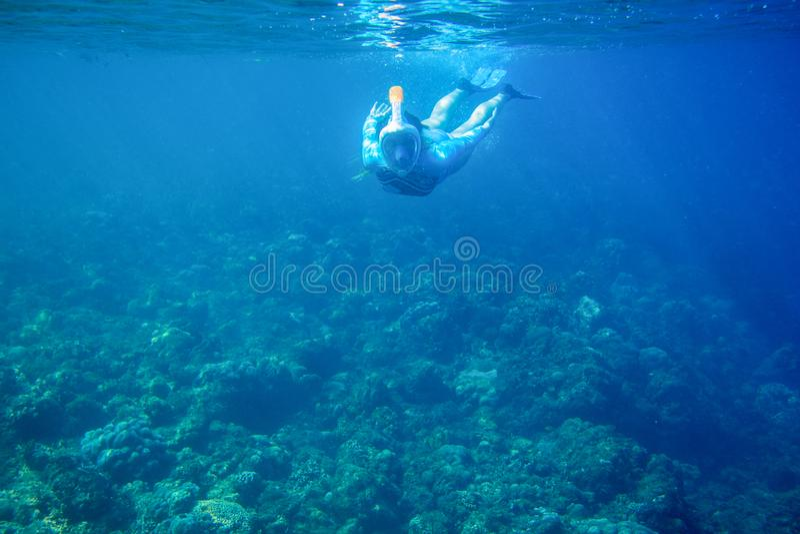 Piqués de femme en récif coralien Fille naviguant au schnorchel dans le masque de plein-visage Photo d'eau du fond de personne de photos libres de droits