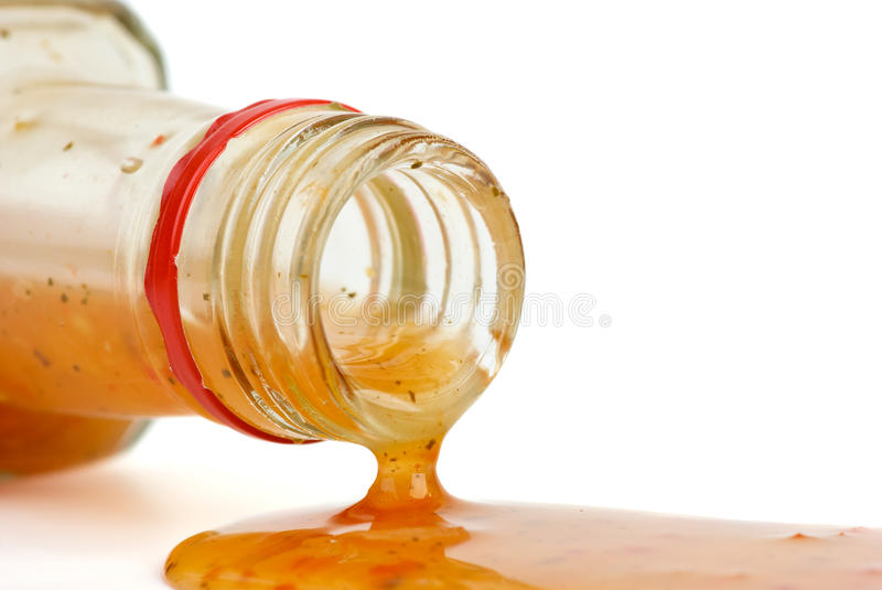 Download Piquant Red Sauce Leaking From The Bottle Stock Photo - Image: 13013260