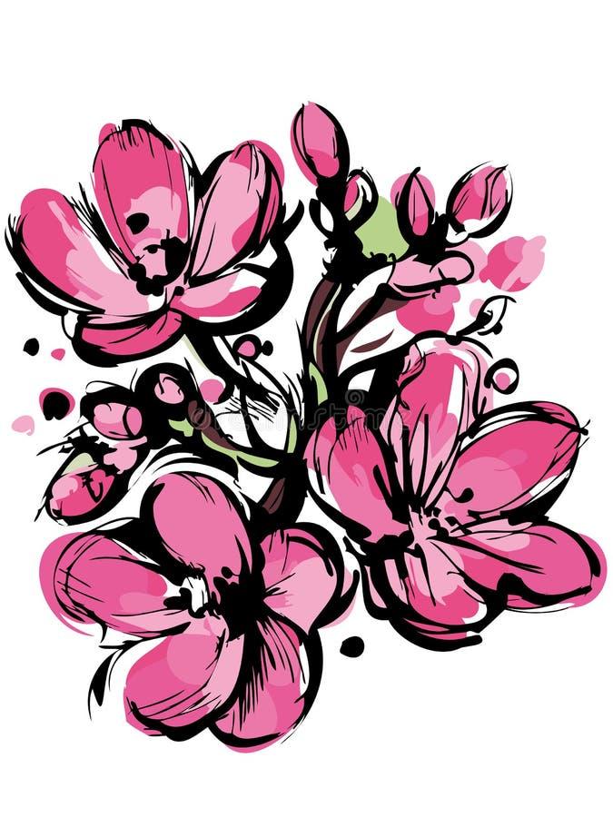 Pique el bosquejo de los colores del resorte tres brotes stock de ilustración