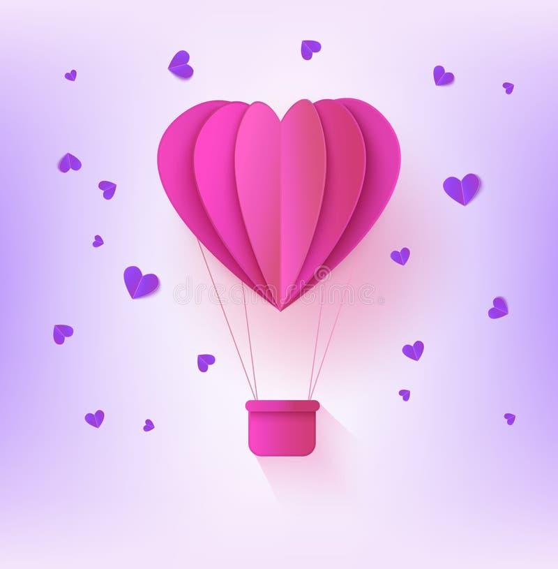 Pique el globo de papel doblado del aire caliente en la forma de corazón rodeada por pocas formas del corazón en fondo violeta en libre illustration