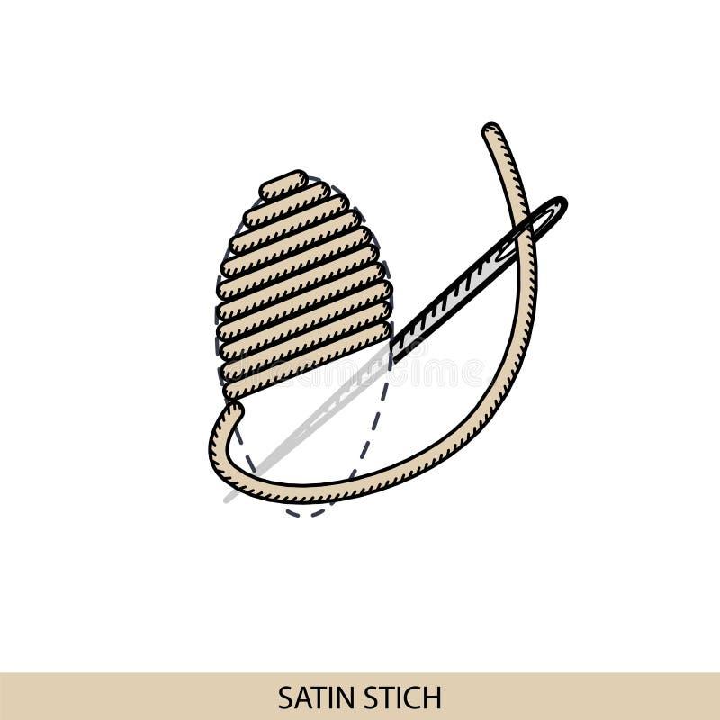 Pique le type de point de satin Collection de broderie de main de fil et de points de couture Illsutration de vecteur d'examen pi illustration stock