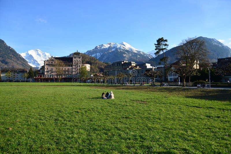 Pique-nique à Interlaken, Suisse photo libre de droits