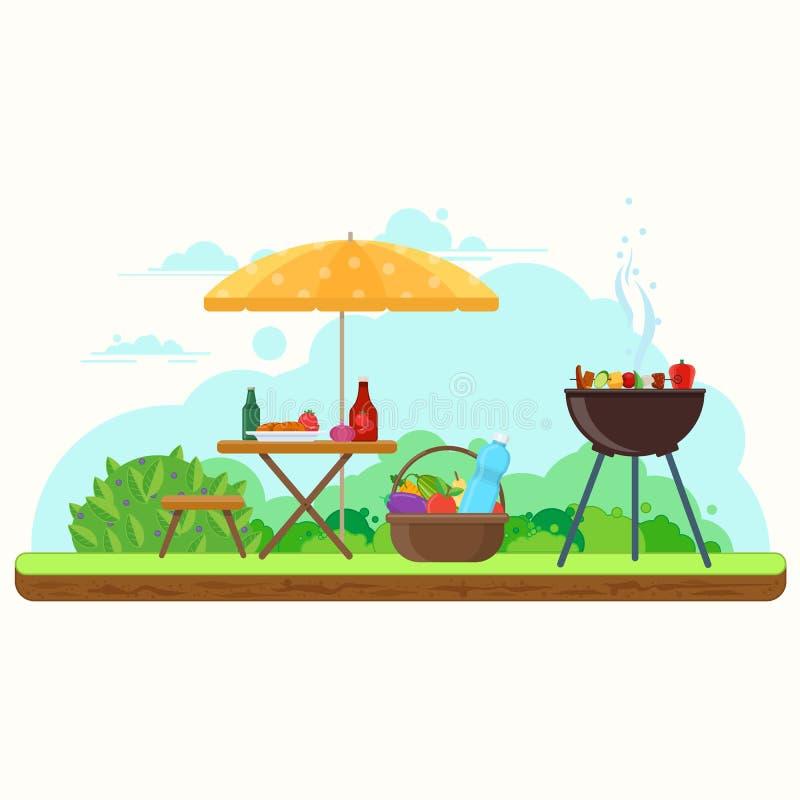 Pique-nique de BBQ dans le jardin illustration de vecteur