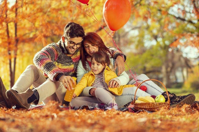 Pique-nique de chute de famille photographie stock libre de droits