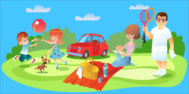 Pique-nique de famille, père, mère et voiture d'enfants illustration libre de droits