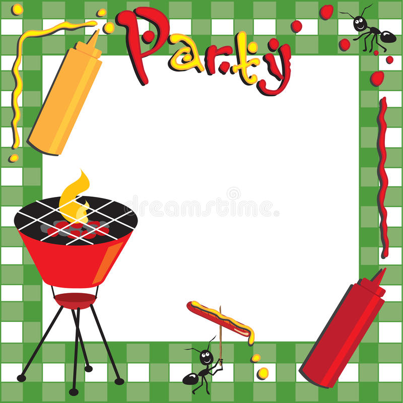 Pique-nique et invitation de BBQ illustration stock