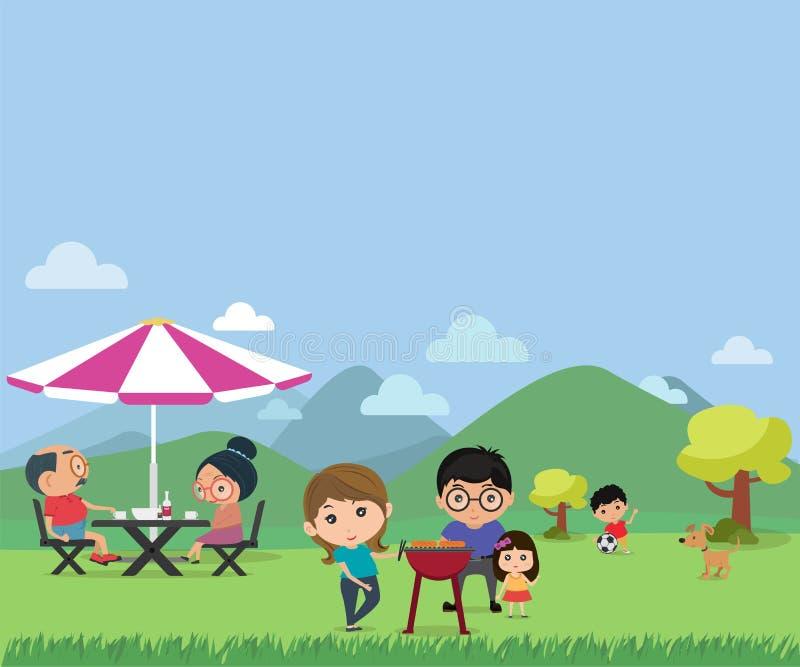 Pique-nique heureux de famille dans l'illustra plat moderne extérieur de vecteur de style illustration de vecteur