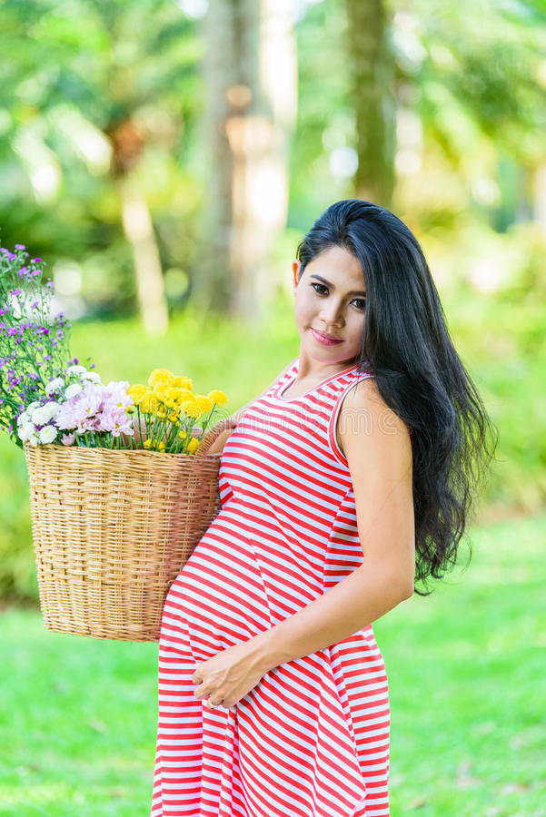 Pique-nique heureux de femme enceinte en parc images libres de droits