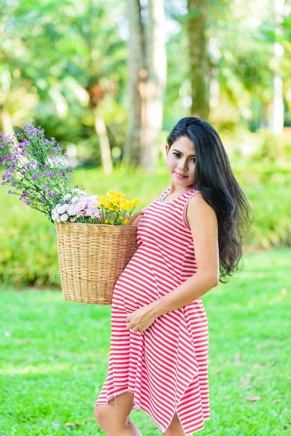 Pique-nique heureux de femme enceinte en parc photographie stock