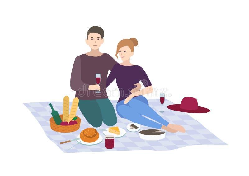 Pique-nique, illustration de vecteur Les couples ensemble extérieurs détendent scène de récréation de personnes dans le style pla illustration de vecteur