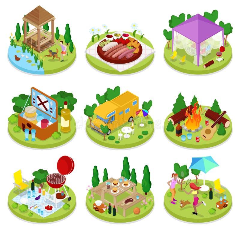 Pique-nique isométrique de BBQ Camp de vacances d'été Les gens en parc avec de la viande grillée illustration libre de droits