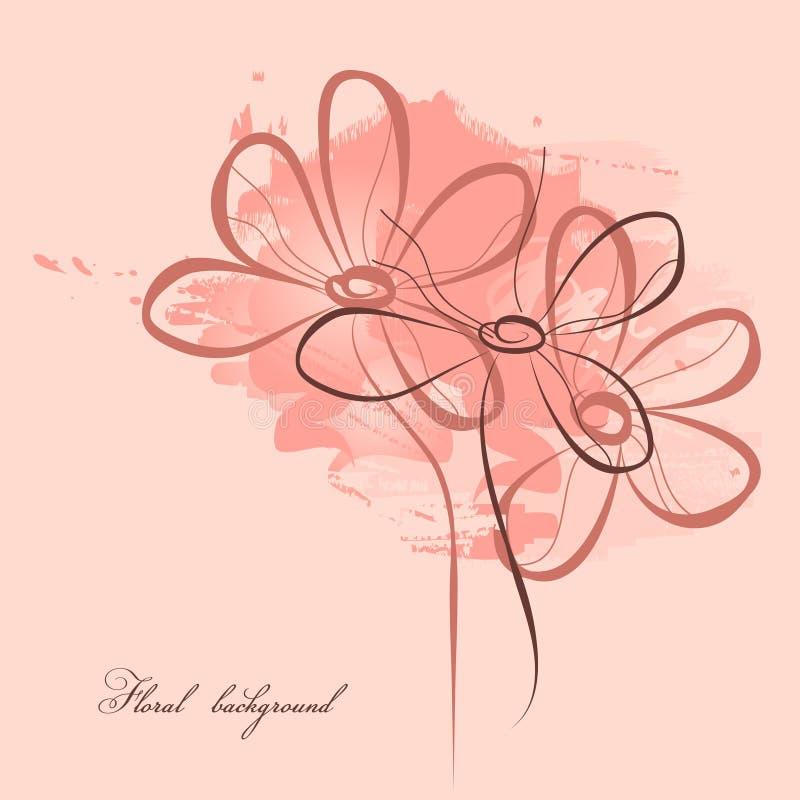 Pique a pintura floral ilustração do vetor