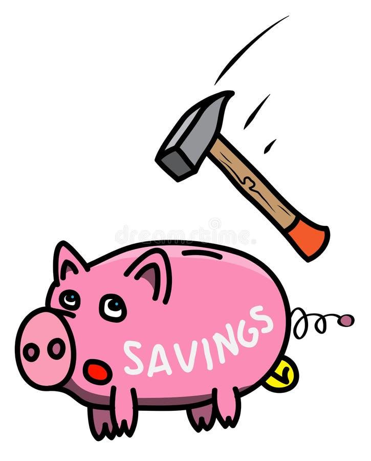 Pique y asustó el piggybank gordo en estilo de la historieta con las letras, ejemplo coloreado que muestra riesgo como martillo p libre illustration