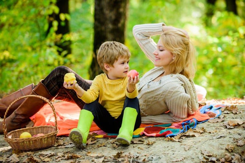 Piquenique de relaxamento da floresta da mulher bonita da mãe e do filho pequeno Bom dia para o piquenique da mola na natureza Co imagem de stock