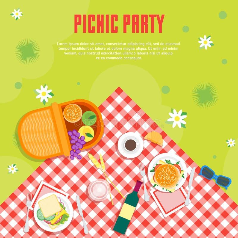 Piquenique do verão dos desenhos animados no fundo do cartão da cesta do parque Vetor ilustração stock