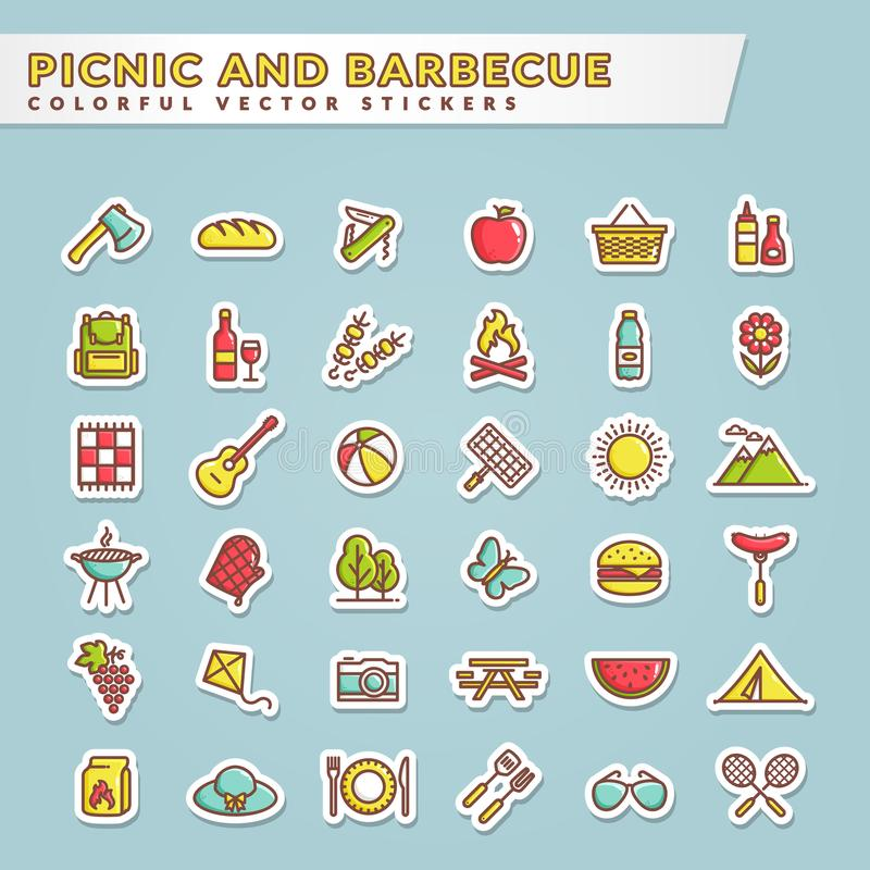 Piquenique e ícones coloridos da etiqueta do assado ilustração royalty free