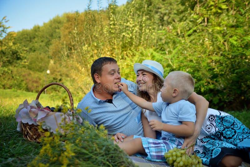 Piquenique feliz da família no parque no dia de verão Mamã, paizinho e um rapaz pequeno O menino alimenta as uvas e o riso do pap imagem de stock royalty free