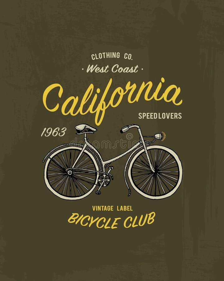 Piquez la bicyclette d'impression, le vélo ou le transport, les graphiques de T-shirt, conception avec l'animal Fond de grunge de illustration libre de droits