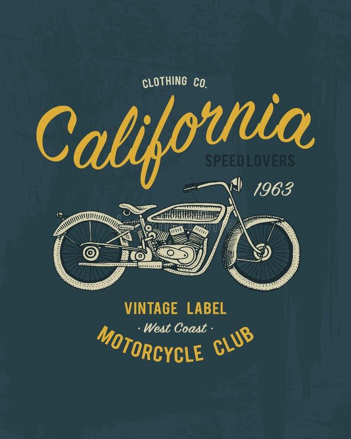 Piquez la moto d'impression ou le transport, les graphiques de T-shirt, conception avec l'animal Fond de grunge de vecteur lettra illustration libre de droits