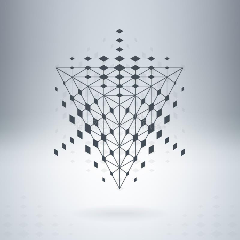 Pirámide altísima con las líneas y los puntos conectados Vector abstracto I ilustración del vector