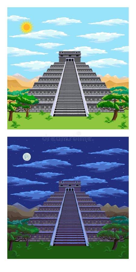 Pirámide azteca ilustración del vector