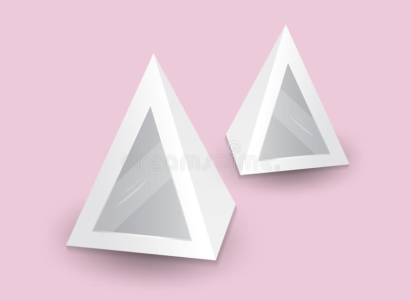 Pirámide blanca 3d, ejemplo del vector, caja que empaqueta para la comida, regalo u otros productos libre illustration