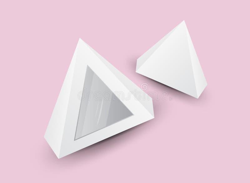 Pirámide blanca 3d, ejemplo del vector, caja que empaqueta para la comida, regalo u otros productos, embalaje del producto libre illustration