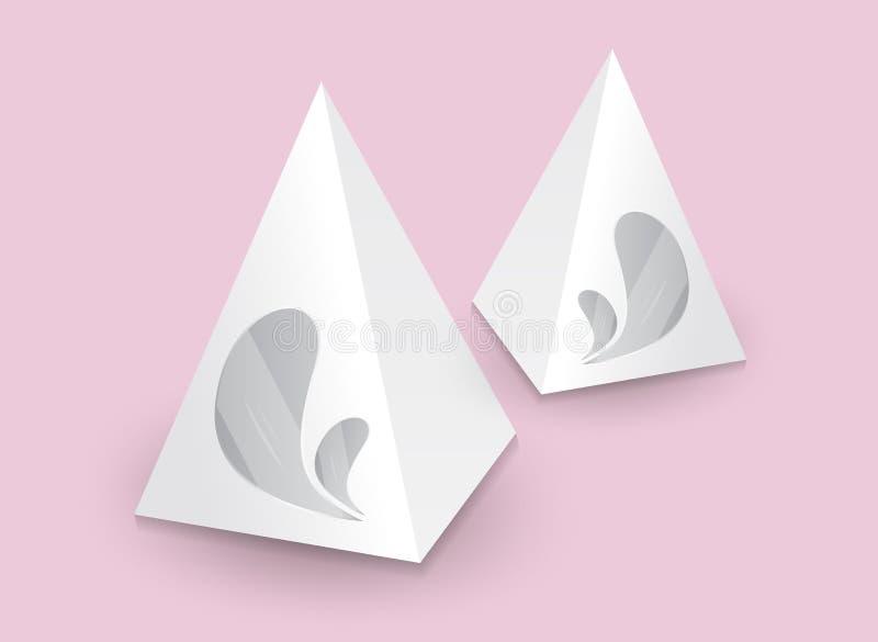 Pirámide blanca 3d, ejemplo del vector, caja que empaqueta para la comida, regalo u otros productos, producto ilustración del vector