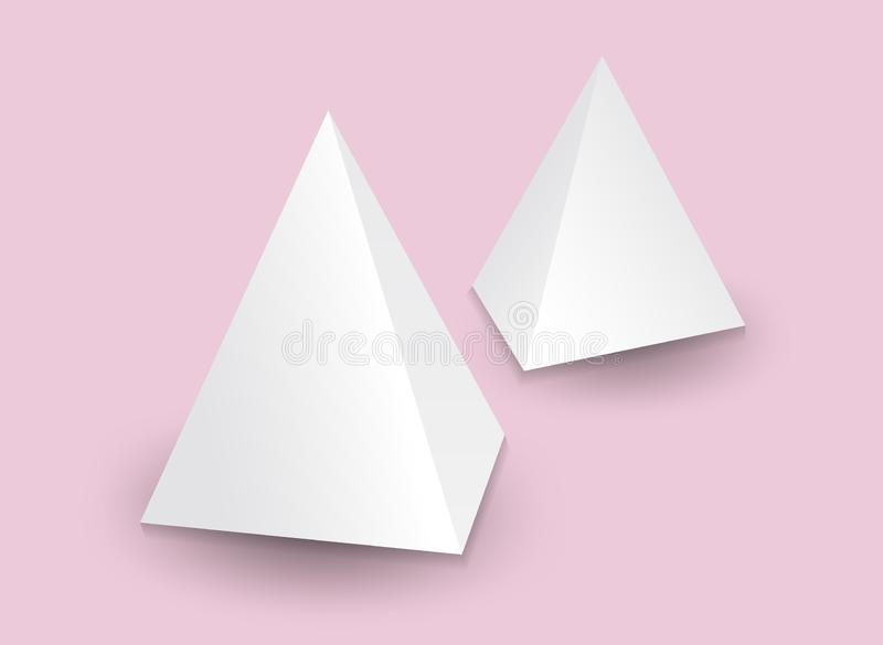 Pirámide blanca 3d, ejemplo del vector, caja que empaqueta para la comida, regalo u otros productos, producto libre illustration