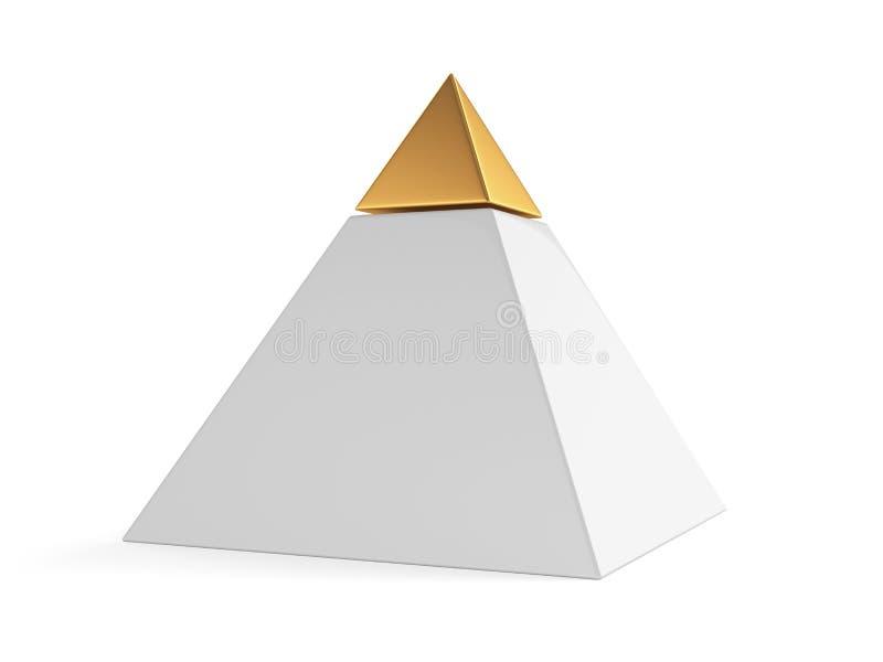 Pirámide con el casquillo de oro stock de ilustración